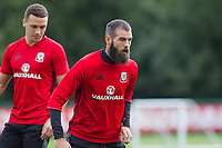 Joe Ledley during Wales national team training at Vale Resort, Hensol, Wales on 4 September 2017, ahead of the side's World Cup Qualification match against Moldova. Photo by Mark  Hawkins.