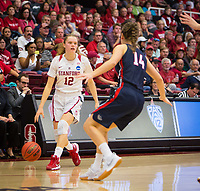 STANFORD, CA - March 17, 2018: Brittany McPhee at Maples Pavilion. The Stanford Cardinal defeated the Gonzaga Bulldogs 82-68 to advance to the second round of the NCAA tournament.