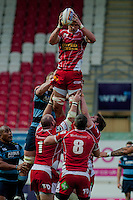 Saturday 10 May 2014<br /> Pictured: Aaron Shingler jumps for the ball <br /> Re: Scarlets v Blues Rabo Direct Pro 12 Rugby Union Match at Parc y Scarlets, Llanelli, Wales