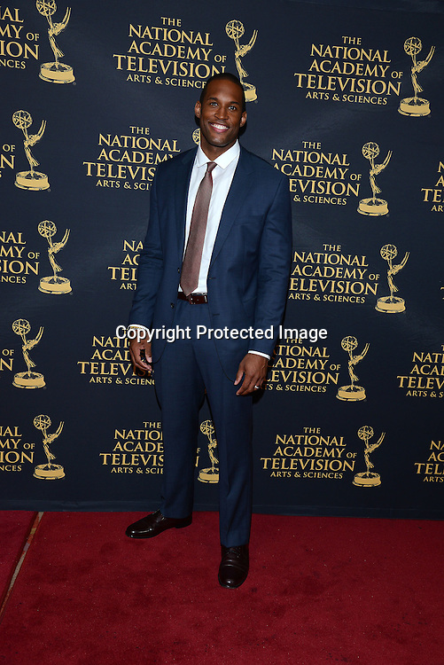Lawrence Saint-Victor attends the Daytime Emmy Creative Arts Awards Press Room on April 24, 2015 at the Universal l Hilton in Universal City,<br /> California, USA.