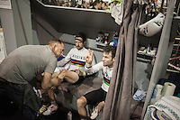 Sir Bradley Wiggins (GBR/Wiggins) oiled in by soigneur <br /> Stefan Szrek before the start of another race-day while Mark Cavendish (GBR/Dimension Data) sends out peace&amp;love<br /> <br /> <br /> 2016 Gent 6<br /> day 4