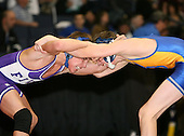 Justin Melia and Matt Gray wrestle at the 112 weight class during the NY State Wrestling Championships at Blue Cross Arena on March 8, 2008 in Rochester, New York.  (Copyright Mike Janes Photography)