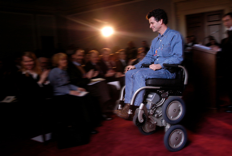 Dean Kamen, inventor of the Segway, riding his motorized wheelchair, after being announced for the 2005 National Inventors Hall of Fame Inductee announcement ceremony.