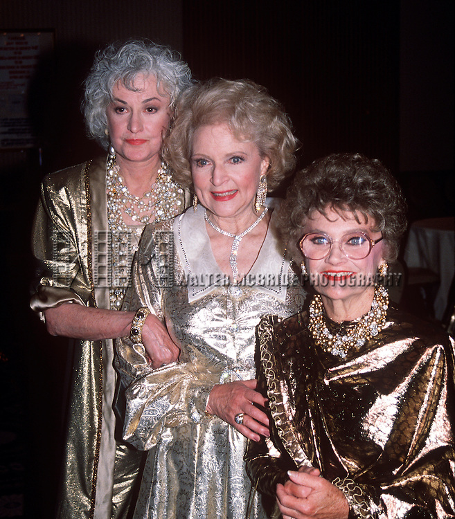 Betty White, Bea Arthur, Estelle Getty of The Golden Girls in 1990 in New York City.