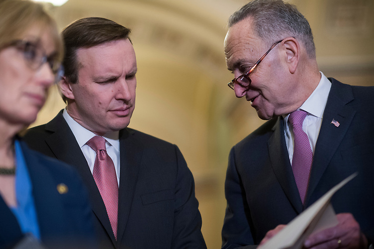 UNITED STATES - MARCH 7: Senate Minority Leader Charles Schumer, D-N.Y., right, and Sen. Chris Murphy, D-Conn., conduct a news conference after the Senate Policy luncheons in the Capitol where they made remarks on the House Republican's new healthcare plan, March 7, 2017. (Photo By Tom Williams/CQ Roll Call)