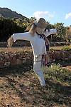Scarecrow at botanical gardens at Rodalquilar, Cabo de Gata natural park, Almeria, Spain