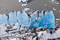 Aerial view of Kinik Glacier and crevasses, Alaska