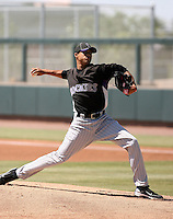 Peter Tago #56 of the Colorado Rockies plays in an extended spring training game against the San Francisco Giants at the Rockies minor league complex on May 3, 2011  in Scottsdale, Arizona. .Photo by:  Bill Mitchell/Four Seam Images.