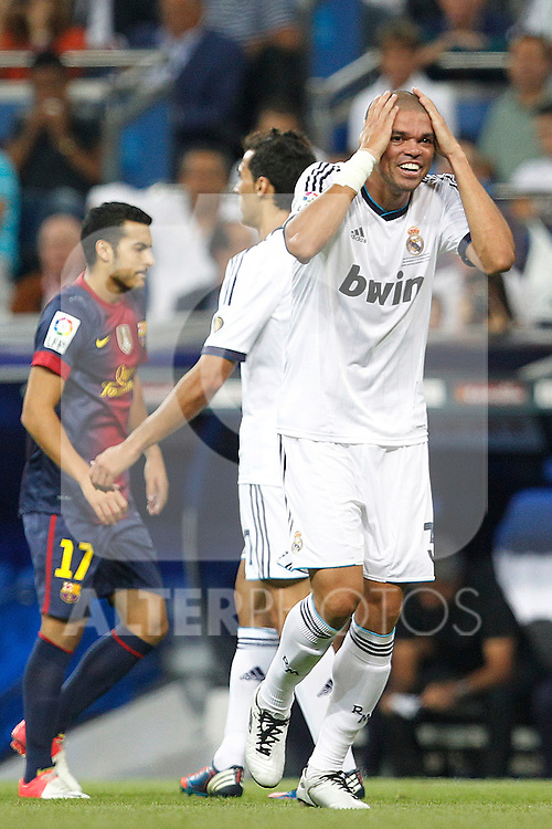 Real Madrid's Pepe during Spanish Supercup 2nd match on august 29 2012...Photo: Cesar Cebolla / ALFAQUI