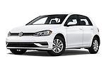 Stock pictures of low aggressive front three quarter view of a 2019 Volkswagen Golf S 5 Door Hatchback