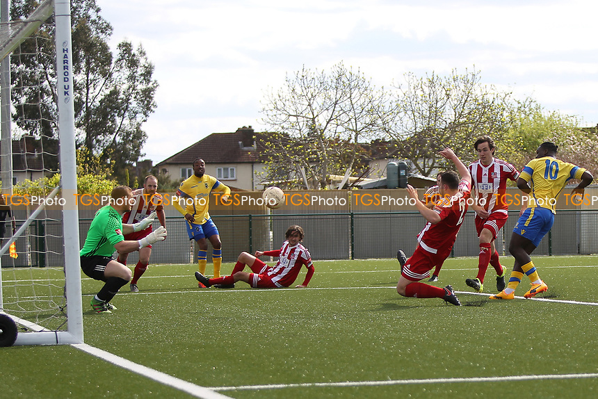 Scott  Durojaiye of Haringey  scores the opening goal during Haringey Borough vs Bowers & Pitsea, Ryman League Division 1 North Football at Coles Park Stadium on 15th April 2017