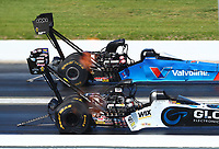 Apr 23, 2017; Baytown, TX, USA; NHRA top fuel driver Shawn Langdon (near) races alongside Bob Vandergriff during the Springnationals at Royal Purple Raceway. Mandatory Credit: Mark J. Rebilas-USA TODAY Sports