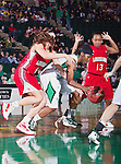 North Texas Mean Green guard Brittney Hudson (5) and Louisiana Lafayette Ragin' Cajuns guard Michelle Brunker (1) in action during the game between the Louisiana Lafayette Ragin' Cajuns and the University of North Texas Mean Green at the North Texas Coliseum,the Super Pit, in Denton, Texas. UNT defeats Louisiana Lafayette 78 to 40....