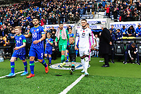 Matt Grimes of Swansea City leads his team mates out during the Sky Bet Championship match between Wigan Athletic and Swansea City at The DW Stadium in Wigan, England, UK. Saturday 2 November 2019