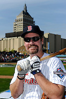 Hall of Fame third baseman Wade Boggs #12 poses for a photo with the Kodak tower in the background before the MLB Pepsi Max Field of Dreams game on May 18, 2013 at Frontier Field in Rochester, New York.  (Mike Janes/Four Seam Images)