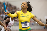 COLLEGE STATION, TX - MARCH 11: Elexis Guster of Oregon passes the baton in the women's 4x400 meter relay during the Division I Men's and Women's Indoor Track & Field Championship held at the Gilliam Indoor Track Stadium on the Texas A&M University campus on March 11, 2017 in College Station, Texas. (Photo by Michael Starghill/NCAA Photos/NCAA Photos via Getty Images)
