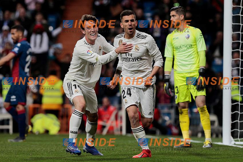 Real Madrid's Alvaro Odriozola (L) and Dani Ceballos (R) celebrate goal during La Liga match between Real Madrid and SD Huesca at Santiago Bernabeu Stadium in Madrid, Spain. March 31, 2019. (ALTERPHOTOS/A. Perez Meca)<br /> Liga Campionato Spagna 2018/2019<br /> Foto Alterphotos / Insidefoto <br /> ITALY ONLY