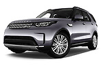 Stock pictures of low aggressive front three quarter view of 2018 Land Rover Discovery HSE 5 Door SUV