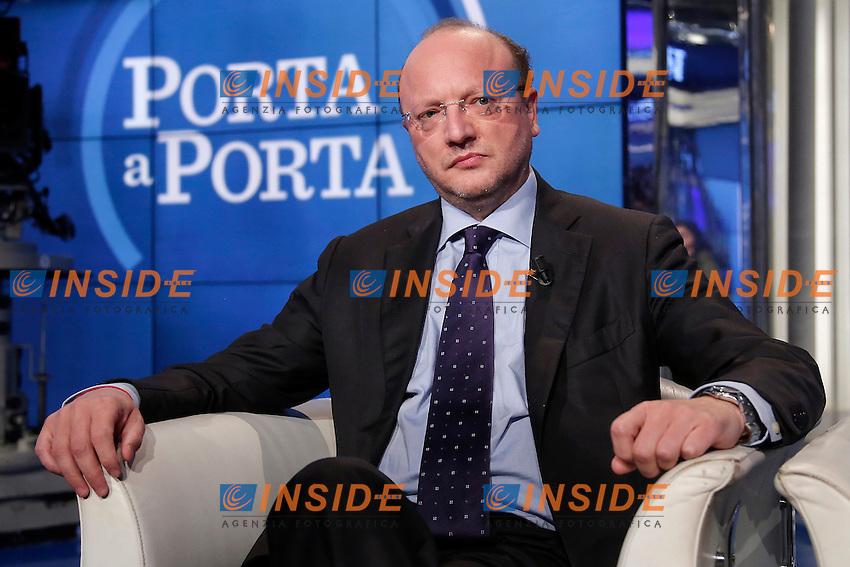 Vincenzo Boccia <br /> Roma 28-09-2016. Rai. Trasmissione tv Porta a Porta.<br /> Rome 28th September 2016. Rai tv. Talk show Porta a PortaPhoto Samantha Zucchi Insidefoto