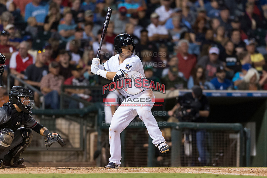 AFL West second baseman Keston Hiura (23), of the Peoria Javelinas and Milwaukee Brewers organization, at bat during the Arizona Fall League Fall Stars game at Surprise Stadium on November 3, 2018 in Surprise, Arizona. The AFL West defeated the AFL East 7-6 . (Zachary Lucy/Four Seam Images)