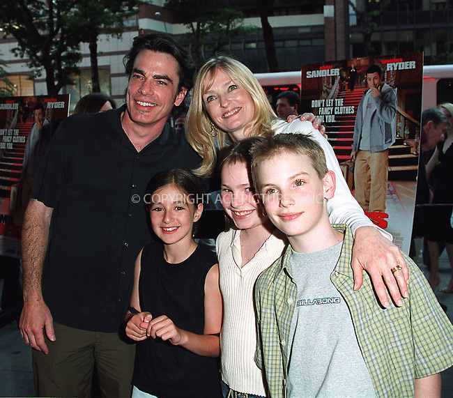 Peter Gallagher and his family arrive at the world premiere of Mr. Deeds in New York. June 18, 2002. Please byline: Alecsey Boldeskul/NY Photo Press.   ..*PAY-PER-USE*      ....NY Photo Press:  ..phone (646) 267-6913;   ..e-mail: info@nyphotopress.com