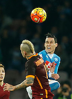 Napoli's Jose Callejon  during the  italian serie a soccer match,between SSC Napoli and AS Roma       at  the San  Paolo   stadium in Naples  Italy ,December 13, 2015