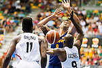 Spain's basketball player Felipe Reyes and Angola's basketball player Bruno Fernando and Leonel Paulo during the first match of the preparation for the Rio Olympic Game at Coliseum Burgos. July 12, 2016. (ALTERPHOTOS/BorjaB.Hojas)