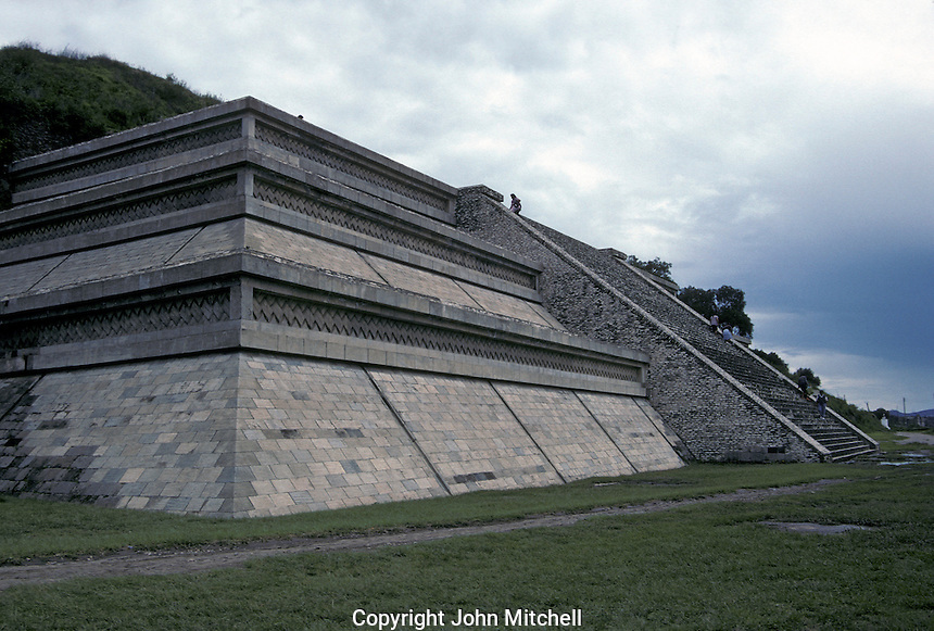 Reconstructed pyramid and platform, Archaelogical Zone, Tepanapa Pyramid, Cholula, Puebla, Mexico