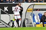 10.03.2019, Prezero-Arena, Sinsheim, GER, 1 FBL, TSG 1899 Hoffenheim vs 1. FC Nuernberg, <br /> <br /> DFL REGULATIONS PROHIBIT ANY USE OF PHOTOGRAPHS AS IMAGE SEQUENCES AND/OR QUASI-VIDEO.<br /> <br /> im Bild: Boris Schommers (Interimstrainer, 1. FC Nuernberg) spendet Enrico Valentini (#22, 1. FC Nuernberg) wegen Verletzung Trost<br /> <br /> Foto &copy; nordphoto / Fabisch
