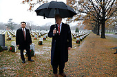 United States President Donald J. Trump speaks to reporters as he visits Section 60 at Arlington National Cemetery in Arlington, Virginia on December 15, 2018. <br /> Credit: Yuri Gripas / Pool via CNP