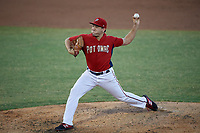 Potomac Nationals pitcher Nick Raquet (22) during a Carolina League game against the Myrtle Beach Pelicans on August 14, 2019 at Northwest Federal Field at Pfitzner Stadium in Woodbridge, Virginia.  Potomac defeated Myrtle Beach 7-0.  (Mike Janes/Four Seam Images)