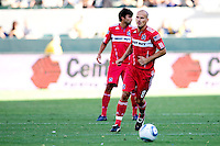 Newly acquired Freddie Ljungberg now with the Chicago Fire moves to the ball. The Chicago Fire beat the LA Galaxy 3-2 at Home Depot Center stadium in Carson, California on Sunday August 1, 2010.
