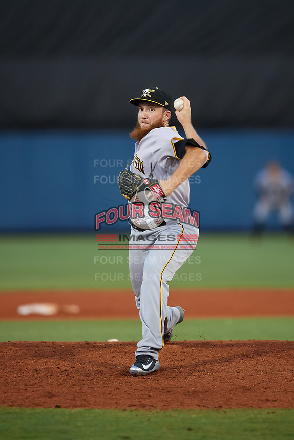 Bradenton Marauders relief pitcher A.J. Schugel (22) delivers a pitch during a game against the Charlotte Stone Crabs on August 6, 2018 at Charlotte Sports Park in Port Charlotte, Florida.  Charlotte defeated Bradenton 2-1.  (Mike Janes/Four Seam Images)