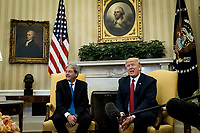 President Donald Trump meets with Prime Minister Paolo Gentiloni of Italy in the Oval Office of the White House in Washington, District of Columbia, U.S., on Thursday, April 20, 2017.  Trump and Gentiloni are meeting ahead of the G-7 industrialized nations meeting in Italy next month. Photographer: Pete Marovich/BloombergUnited States President Donald Trump meets with Prime Minister Paolo Gentiloni of Italy in the Oval Office of the White House in Washington, DC on Thursday, April 20, 2017.  Trump and Gentiloni are meeting ahead of the G-7 industrialized nations meeting in Italy next month. <br /> CAP/MPI/RS<br /> &copy;RS/MPI/Capital Pictures