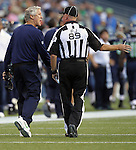 Seattle Seahawks Pete Carroll pleads his case against an official during their game against the Denver Broncos at CenturyLink Field in Seattle, Washington on  August 17, 2013. The Seattle Seahawks beat the Broncos 40-10.     ©2013. Jim Bryant Photo. All Rights Reserved.