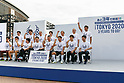 Tokyo governor Yuriko Koike (C) alongside organizers and Paralympians pose for the cameras during the 3 Years to Go! ceremony for the Tokyo 2020 Paralympic games at Urban Dock LaLaport Toyosu on August 25, 2017. The Games are set to start on August 25th 2020. (Photo by Rodrigo Reyes Marin/AFLO)