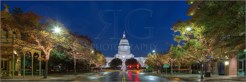 This panorama looking at the holiday Christmas tree that sits in front of the Texas State Capitol is made up of several images stitched together. I took this series of shots before sunrise when traffic was at a minimum, and even then had to scamper back to the curb several times before finally finding enough time to shoot what I wanted.