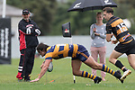 Ex Bombay boy James Brady dives over in the corner to score for Patumahoe, only to be brought back for a forward pass. Premier Counties Power Club Rugby Round 3, Counties Power Game of the Week, between Patumahoe and Bombay, played at Patumahoe on Saturday March 24th 2018. <br /> Photo by Richard Spranger.<br /> <br /> Patumahoe Counties Power Cup Holders won the game 26 - 23 after trailing 7 - 23 at halftime.<br /> Patumahoe 26 - Penalty try, Richard Taupaki, Theodore Solipo, Craig Jones tries; Riley Hohepa 2 conversions. <br /> Bombay 23 - Shaun Muir, Jordan Goldsmith, Liam Daniela, tries; Tim Cossens conversion; Tim Cossens 2 penalties.