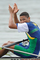 Ottensheim, AUSTRIA.   JM1X Final C winner BRA JM1X, Jose Fabio MOREIRA, celebrates at the 2008 FISA Senior and Junior Rowing Championships,  Linz/Ottensheim. Saturday,  26/07/2008.  [Mandatory Credit: Peter SPURRIER, Intersport Images] Rowing Course: Linz/ Ottensheim, Austria