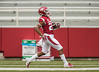 Hawgs Illustrated/BEN GOFF <br /> Devin Bush, Arkansas cornerback, runs the ball back after a turnover in the second quarter Saturday, April 6, 2019, during the Arkansas Red-White game at Reynolds Razorback Stadium. Bush was credited with a touchdown on the play.