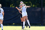 23 October 2016: Wake Forest's Claudia Day (18) and Notre Dame's Ginny McGowan (13). The Wake Forest University Demon Deacons hosted the University of Notre Dame Fighting Irish at Spry Stadium in Winston-Salem, North Carolina in a 2016 NCAA Division I Women's Soccer match. Notre Dame won the game 1-0.