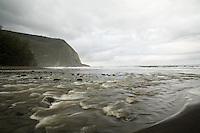Blur motion image of Waipio River rivermouth on the Big Island of Hawaii, shot with a slow shutter speed