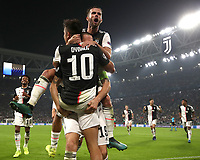 Football Soccer: UEFA Champions League -Group Stage-  Group D - Juventus vs Lokomotiv Moskva, Allianz Stadium. Turin, Italy, October 22, 2019.<br /> Juventus' Paulo Dybala (c) celebrates after scoring his second goal in the match with his teammates during the Uefa Champions League football soccer match between Juventus and Lokomotiv Moskva at Allianz Stadium in Turin, on October 22, 2019.<br /> UPDATE IMAGES PRESS