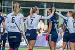 AMSTELVEEN - Kyra Fortuin (SCHC) heeft gescoord  tijdens de competitie hoofdklasse hockeywedstrijd dames, Pinoke-SCHC (1-8) . COPYRIGHT KOEN SUYK