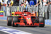 23rd March 2018, Melbourne Grand Prix Circuit, Melbourne, Australia; Melbourne Formula One Grand Prix, Friday free practice; Sebastian Vettel of Germany driving the (5) Ferrari SF71H towards his pit