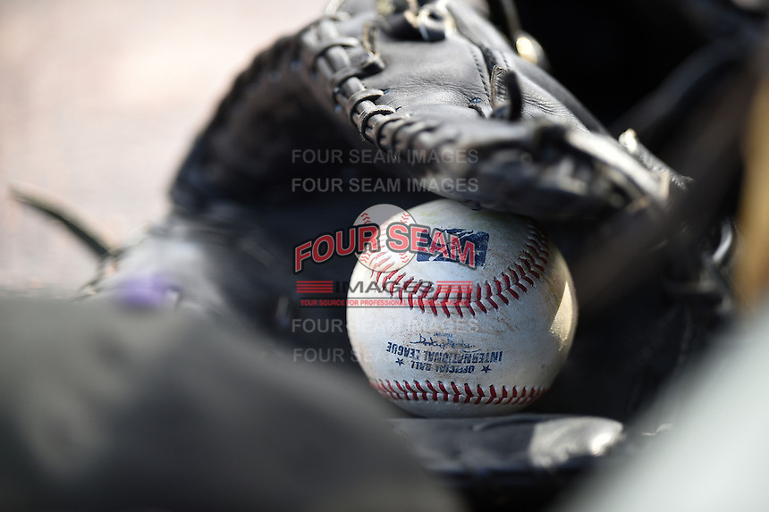 Louisville Bats third baseman Mike Costanzo glove with an International League ball inside during a game against the Rochester Red Wings on May 4, 2014 at Frontier Field in Rochester, New  York.  Rochester defeated Louisville 12-6.  (Mike Janes/Four Seam Images)