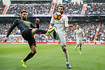 Nacho Fernandez of Real Madrid  fights for the ball during the match Real Madrid vs RCD Espanyol, a La Liga match at the Santiago Bernabeu Stadium on 18 February 2017 in Madrid, Spain. Photo by Diego Gonzalez Souto / Power Sport Images