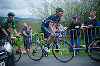 Nairo Quintana (COL/Movistar) with a blooded knee, coming up La Redoute (1650m/9.7%)<br /> <br /> 101th Liège-Bastogne-Liège 2015