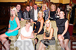 Kelly McDonnell, Killarney, pictured with Margaret McDonnell, Olivia Stapleton, Paul Boland, Derek Daly, Michael O'Donoghue, Stacey Williams, Tanya Cunningham, Fiona O'Connor, Lisa Aherne and Denise Quaele as she celebrated her 30th birthday in the Killarney Avenue Hotel on Friday night. ....................