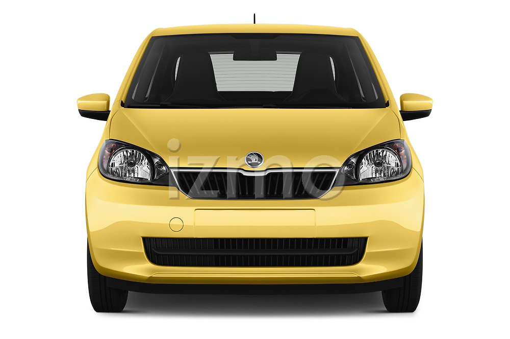 Car photography straight front view of a 2016 Skoda Citigo Ambition 3 Door hatchback Front View